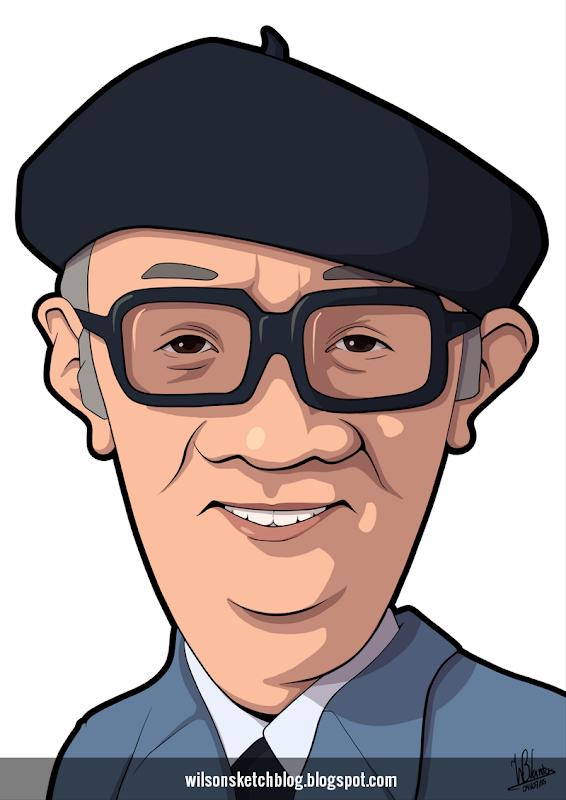 Cartoon caricature of Osamu Tezuka.
