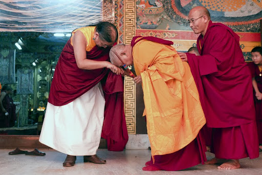 His Holiness the Sakya Trizen with Lama Zopa Rinpoche during Wangya Norbu Tangwa initations, Dheradun, 2012. Photo by Sakya Drolma Phodrang