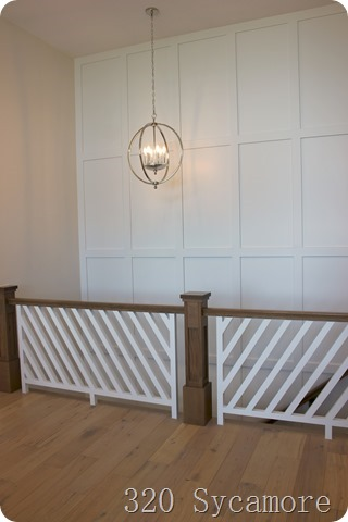 modern stair railing wall treatment