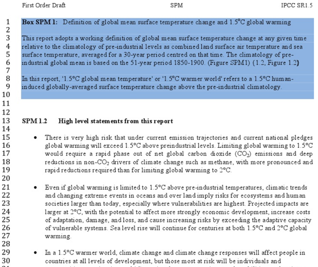 Excerpt from a leaked copy of the 'IPCC special report on 1.5C – draft summary for policymakers' which read, 'There is a very high risk that under current emission trajectories and current national pledges global warming would exceed 1.5 degrees C above preindustrial levels.' Graphic: IPCC