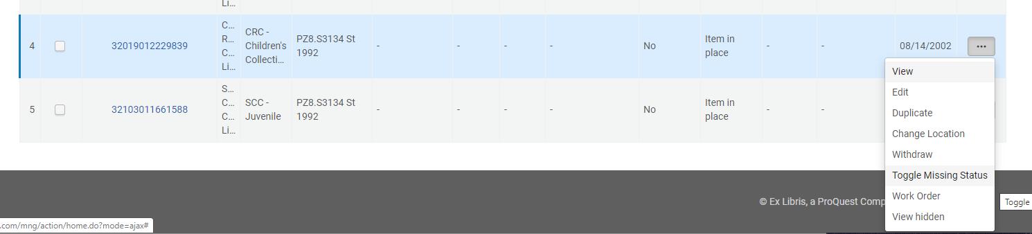 Screenshot of action menu showing toggle missing status option