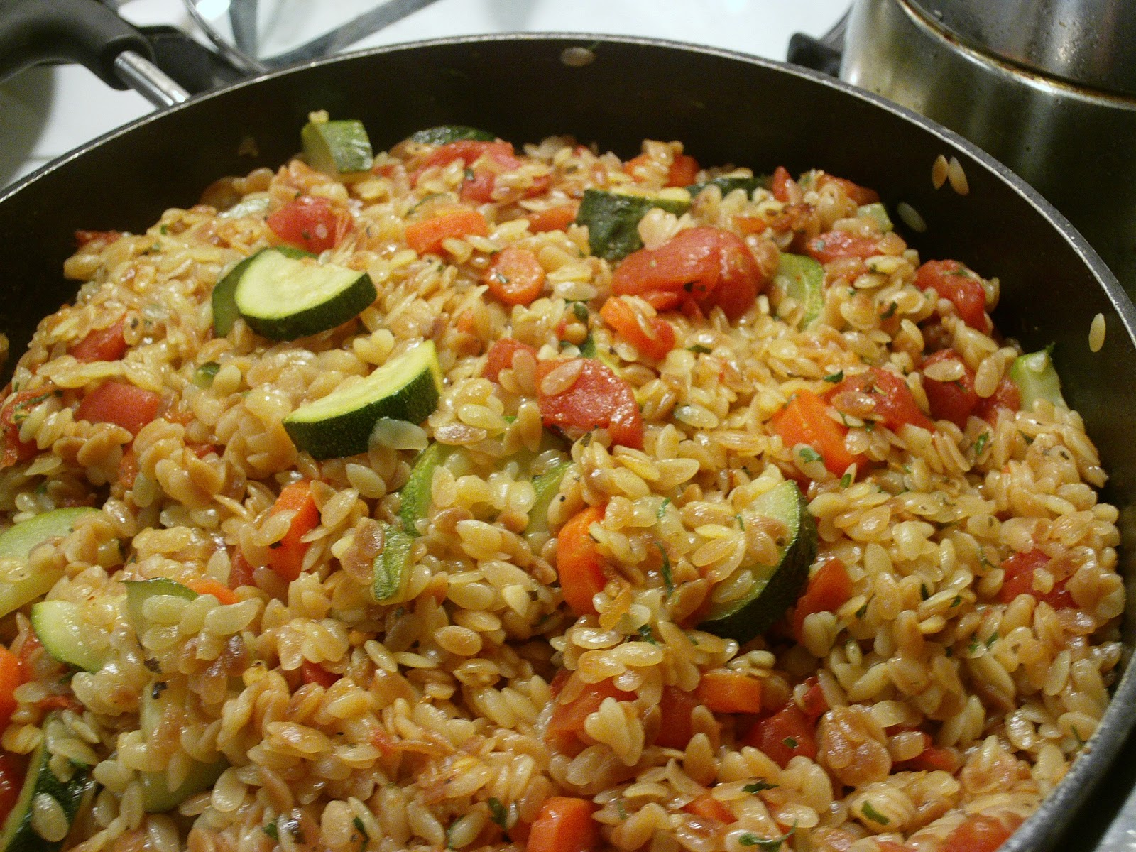 ... Recipes: Toasted Orzo with Lime and Sauteed Peppers and Snow Peas