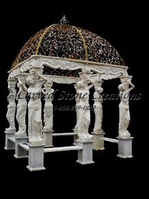 carved stone, Dome, Exterior, Gallery, Gazebo, Gazebos, Landscape Decor, Statue