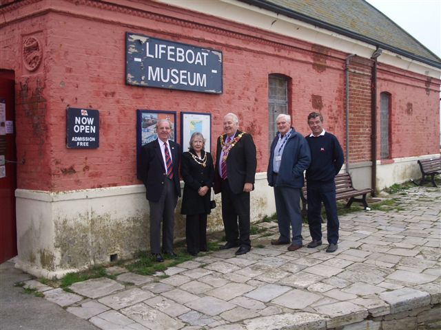 The Mayor and Mayoress of Poole outside the Old Lifeboat Museum with Brian Traves and Graham John, Monday 14th November 2011