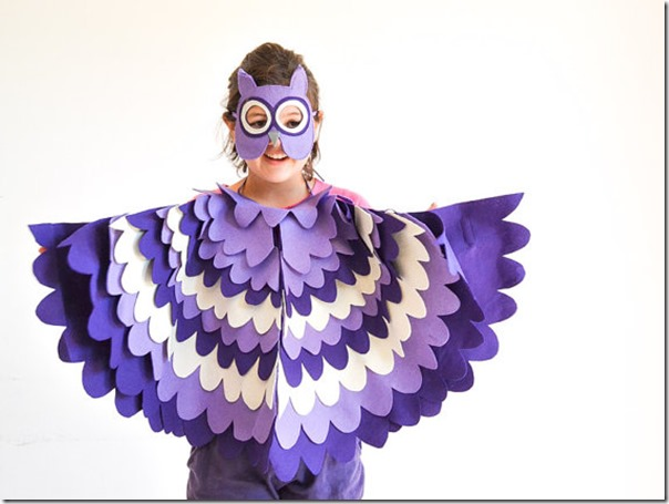 disfraz de pajaros, buhos cisnes con poncho (9)