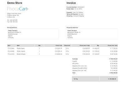 Phoca Cart - Invoice magyarul