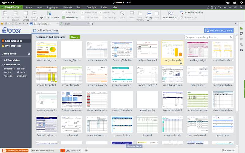 Tampilan WPS Office Spreadsheet