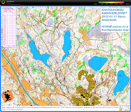 Photo: H10KM course of Raatojuoksu 2012 drawn onto a Karttapullautin map, showing my route recorded by a gps watch (line colours indicating running speed)