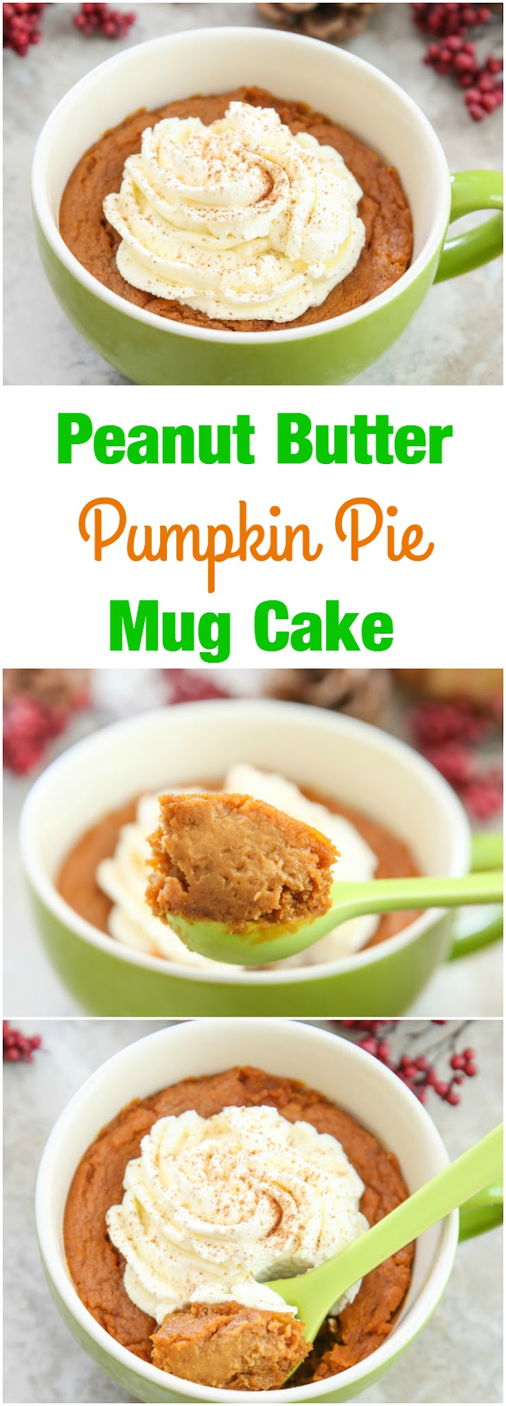 photo collage peanut butter pumpkin pie mug cake