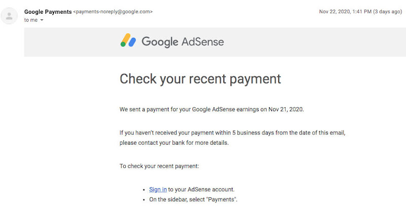 Email Google Payment