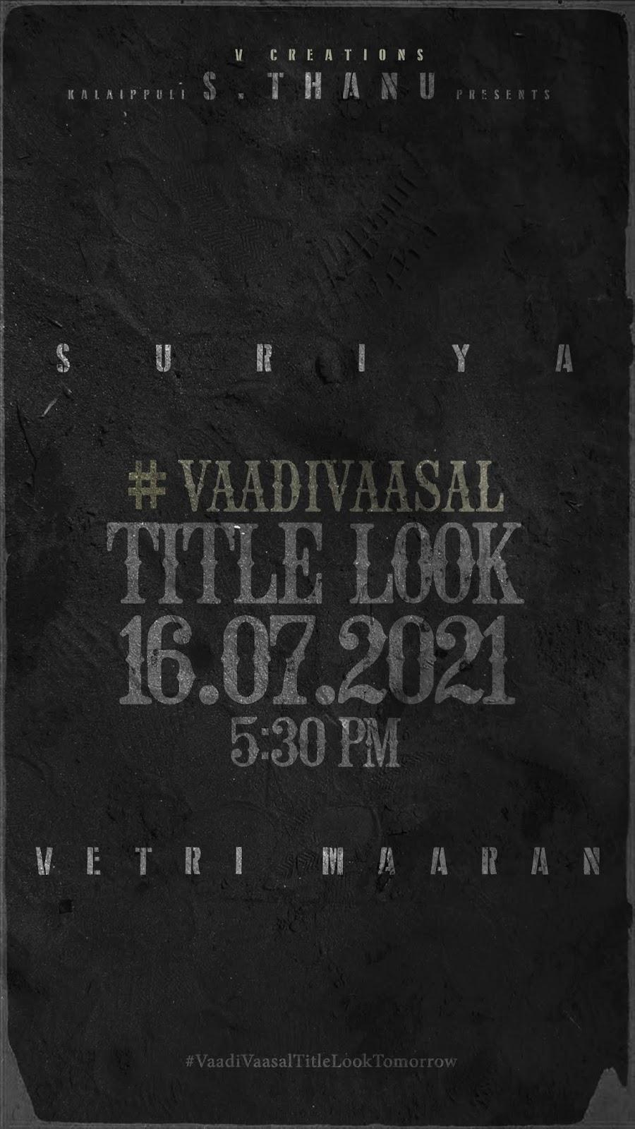 வாடிவாசல் திரைப்படத்தின் Title Look நாளை வெளியாகிறது! Vadivasal | Surya