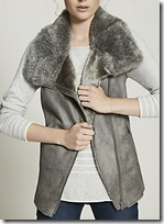 Mint Velvet pale grey faux fur biker gilet