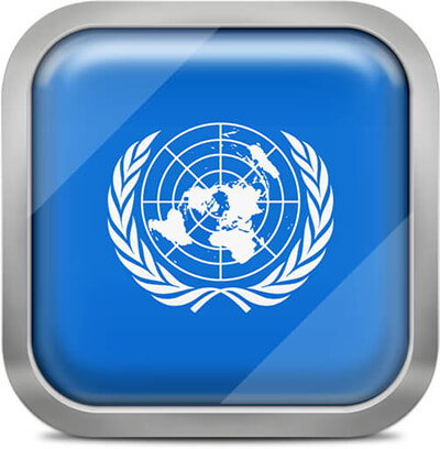 United Nations square flag with metallic frame