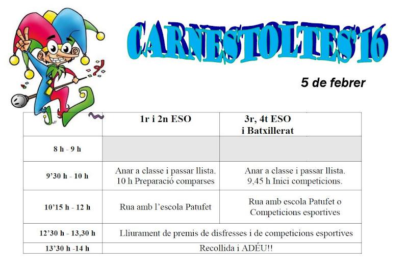 Horari Carnestoltes 2016