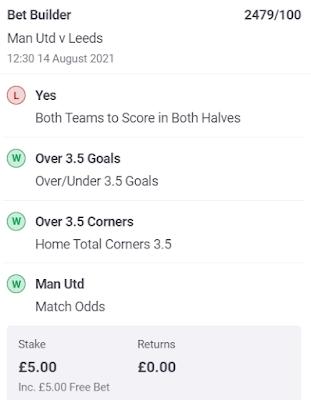 Man Utd .vs. Leeds United (2021/22) Bet Builder