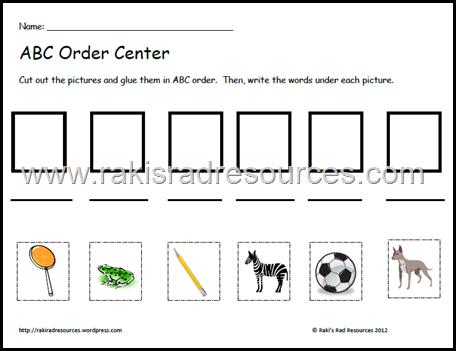 Free abc order center sheet from Raki's Rad Resources.
