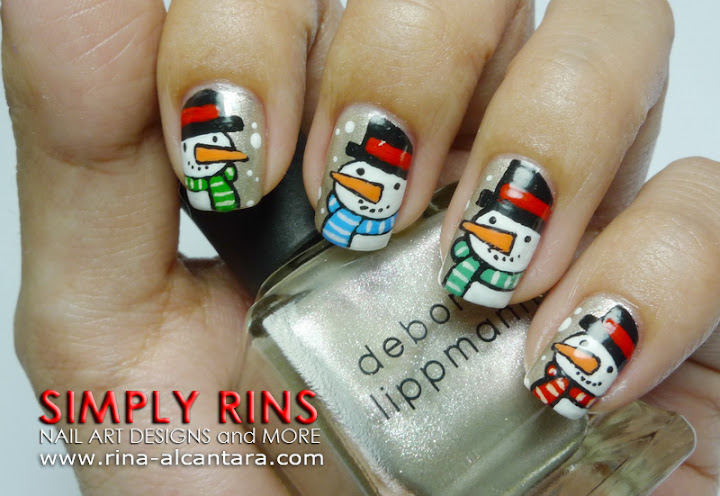 Christmas Snowman Nail Art Design