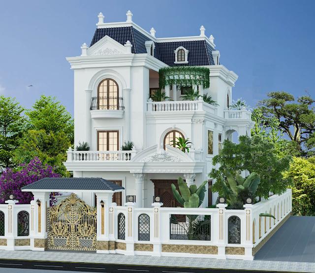 Mẫu thiết kế biệt thự kiểu Pháp sang trọng tại Hải Phòng