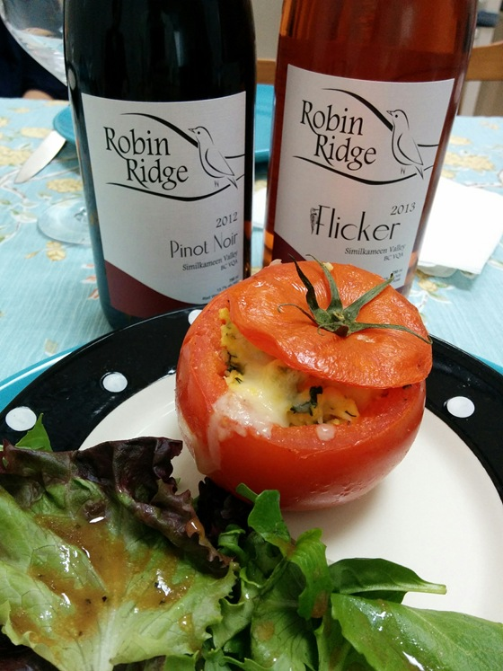Robin Ridge 2012 Pinot Noir & 2013 Flicker Rose with Baked Tomatoes & Herbed Eggs