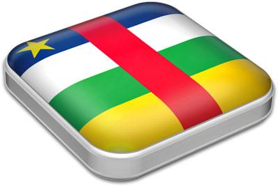 Flag of Central African Republic with metallic square frame