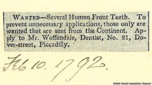anuncio solicitando dientes humanos