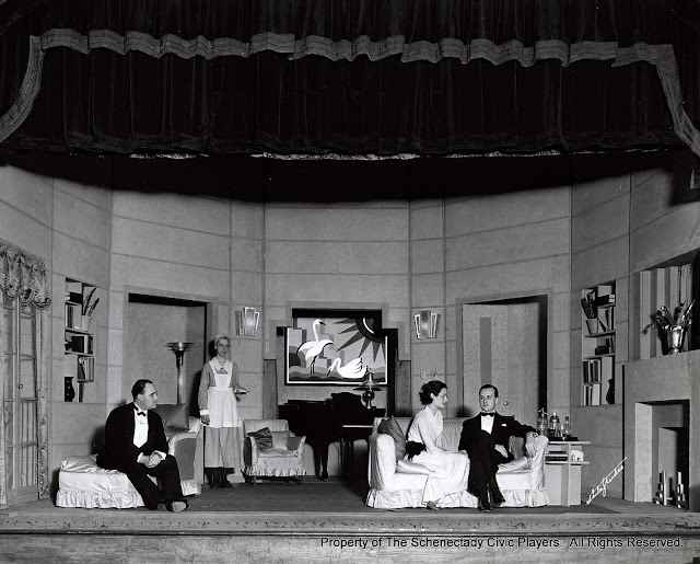 Francis H. Buller, Mrs. C.A. Jagger, Mildred Sayles and Richard Powell Davis in THERE'S ALWAYS JULIET - April 1933.  Property of The Schenectady Civic Players Theater Archive.