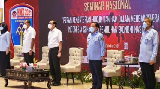 """DALAM RANGKA MEMPERINGATI HARI KARYA DHIKA  """"KEMENTERIAN HUKUM DAN HAM DUKUNG AKSELERASI INDONESIA SEHAT   DAN PEMULIHAN EKONOMI NASIONAL"""""""