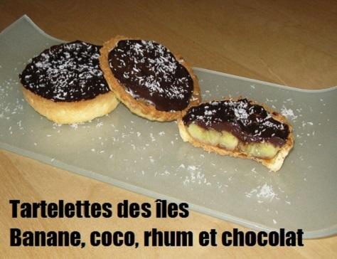 recette des tartelettes des iles à la banane flambée au rhum, noix de coco et chocolat