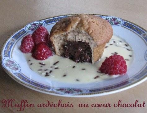 Muffins aux marrons coeur fondant chocolat