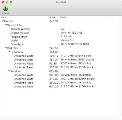 XbenchでのIntel SSD 330 seriesのベンチマーク