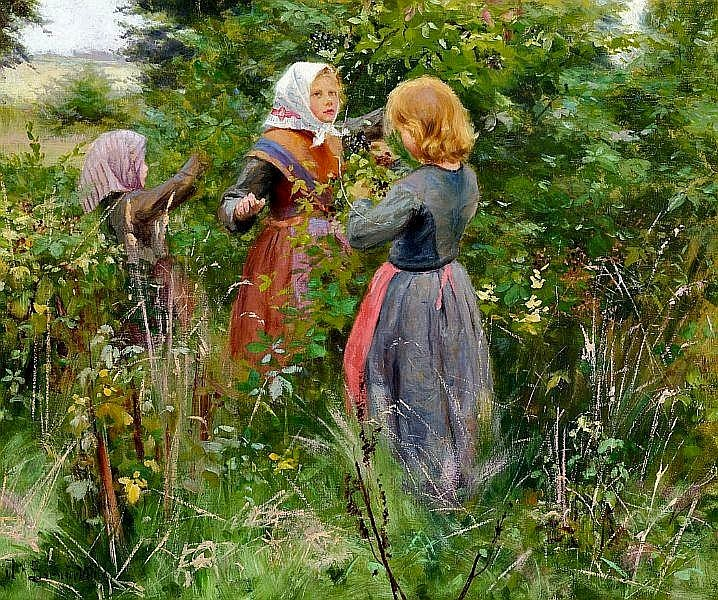 Hans Anderson Brendekilde - Three little girls picking blackberries