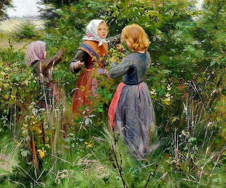 Hans Anderson Brendekilde - Three little girls picking blackberries