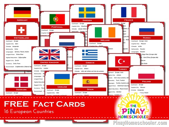 FREE European Countries Fact Cards