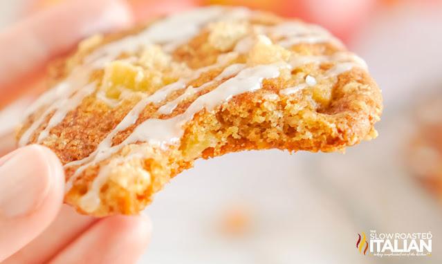 hand holding apple cookies
