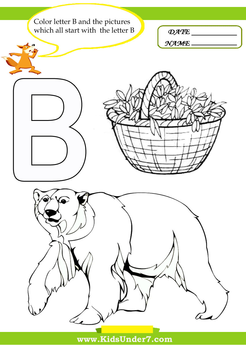 Uncategorized Www.kids Coloring Pages kids under 7 letter b worksheets and coloring pages pages