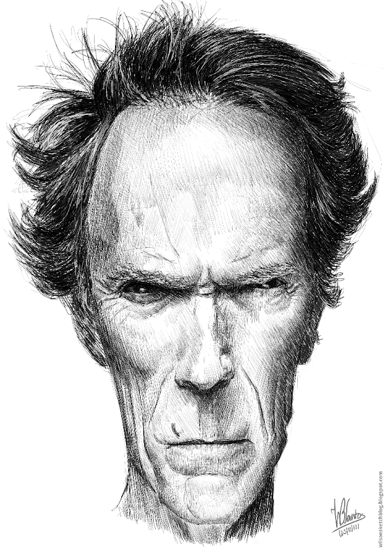 Caricature of Clint Eastwood, using Krita.
