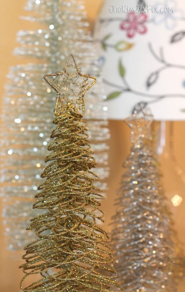 Gold and silver spring christmas trees