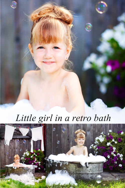 Stock Photo: Little girl in a retro bath