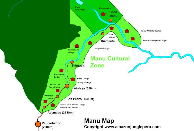 Parc de Manu : situation des lodges Pantiacolla et Erika