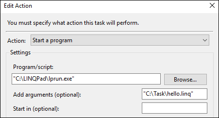 Task Scheduler Action