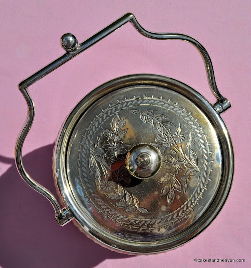 Silver plated rim, handle and lid by John Round, Sheffield
