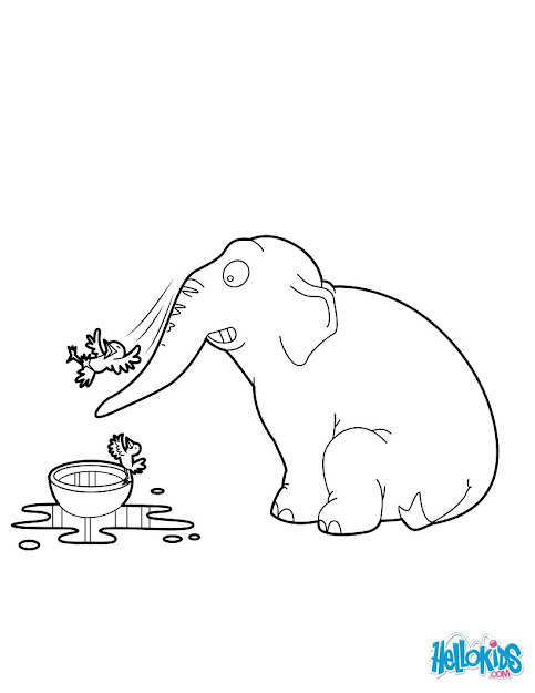 Elephant Standing Elephant Playing With Birds Coloring Page