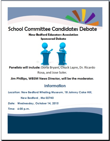 School Committee Debate … This Wednesday  – New Bedford Educators
