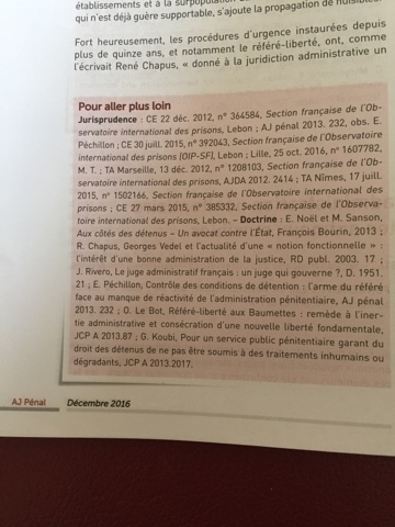 Maison d'Arrêt de Fresnes : AJ Penal décembre 2016 chronique de C Otero page 605