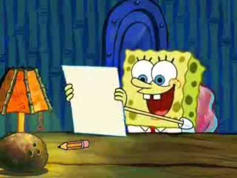 spongebob essay episode Procrastination and i'm with stupid are episodes from the second season of spongebob squarepants procrastination spongebob has to write an essay for boating school about what not to do at a stoplight, but keeps putting it off by the most mundane things.