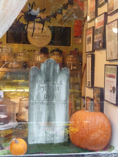 Magnolia Bakery displays tombstones.