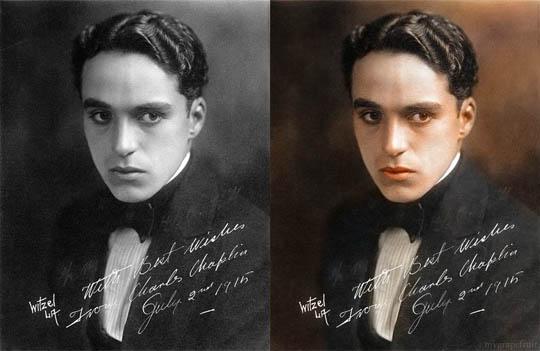 Чарли Чаплин - Най-известните исторически черно-бели фотографии в цвят