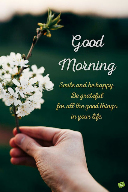 Smile and be happy be grateful for all the good things in your life good morning
