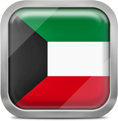 Kuwait square flag with metallic frame