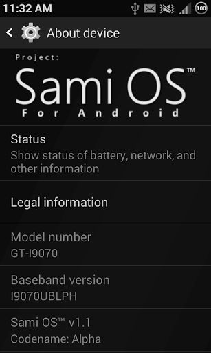 Sami OS 1.1 - About device